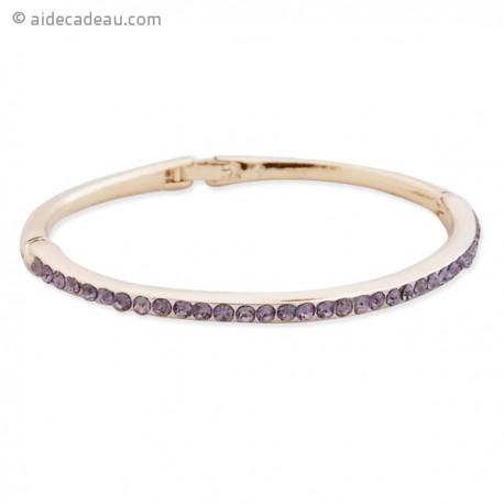 Bracelet fin rigide doré avec strass mauves