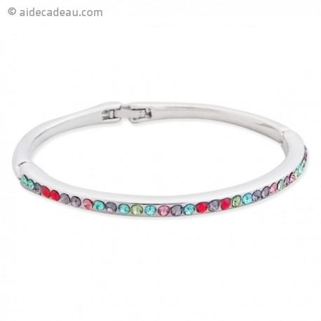 Bracelet fin rigide couleur argenté et strass multicolores