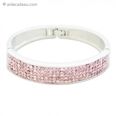 Bracelet argenté décoré avec strass roses