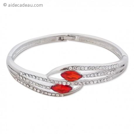 Bracelet argenté 5 branches et fausse pierre rouge
