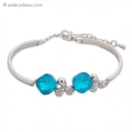 Sublime bracelet argenté deux pierres bleues et de 2 trèfles