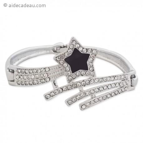 Bracelet étoile filante de couleur noire doté de strass