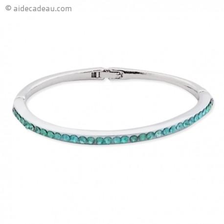 Bracelet rigide avec décor strass argentés