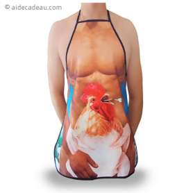 Tablier humoristique homme sexy et poulet