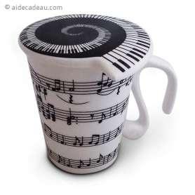 Tasse note de musique céramique avec couvercle