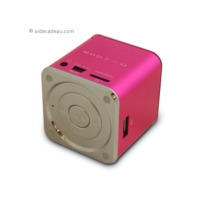 mini enceinte cube mp3 sd radio usb haut parleur. Black Bedroom Furniture Sets. Home Design Ideas