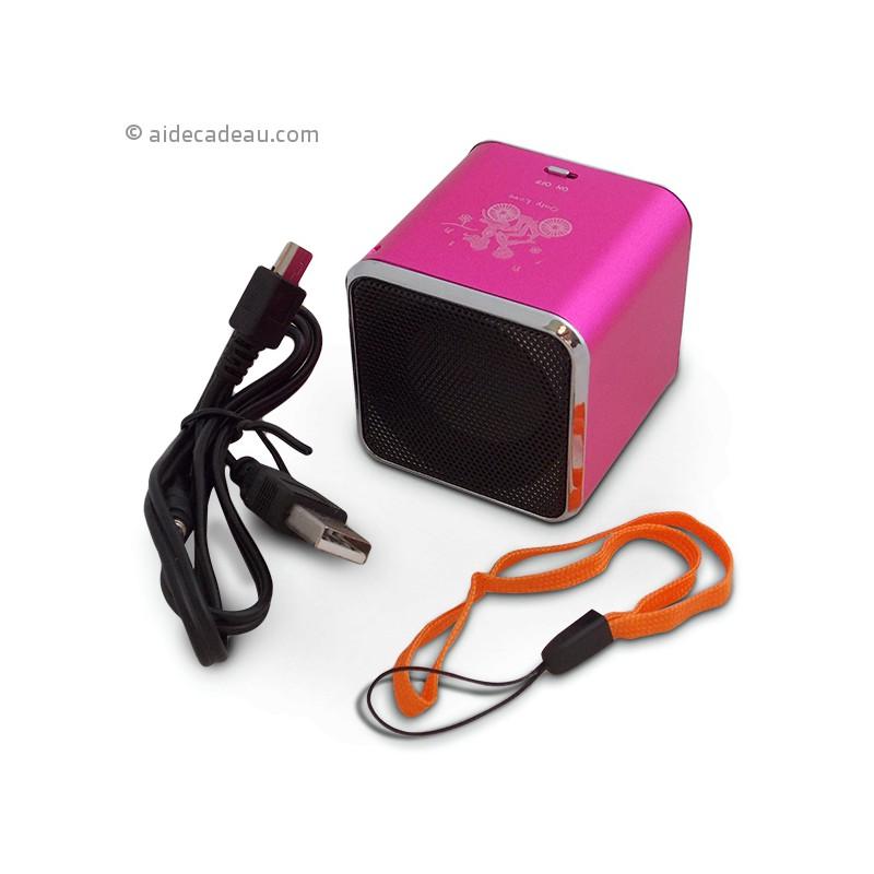 mini enceinte cube mp3 sd radio usb haut parleur. Black Bedroom Furniture Sets. Home Design Ideas
