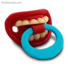 Tétine dents pour bébé humoristique