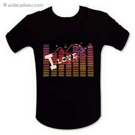 T-shirt equalizer « I Love music » lumineux LED
