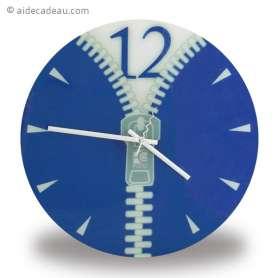 Horloge zip bleue fermeture éclair