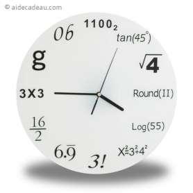 Horloge murale chiffres  symboles scientifiques