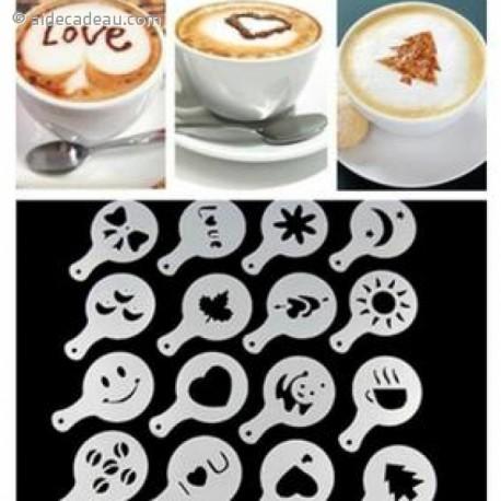 16 pochoirs pour café et chocolat