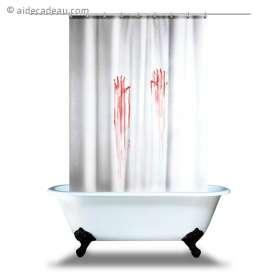 Rideau de douche mains ensanglantées en sang