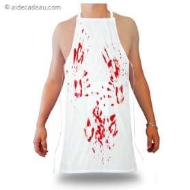 Tablier humouristique tâches de sang de boucher