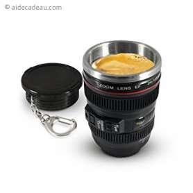 Tasse thermos porte clef objectif appareil photo