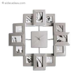 Horloge murale 12 cadres photos argentés