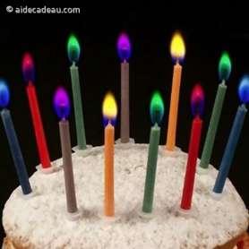 12 bougies flamme colorée