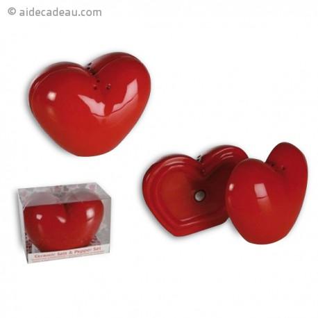 Duo salière et poivrier en cœur aimanté
