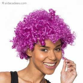 Perruque afro violette