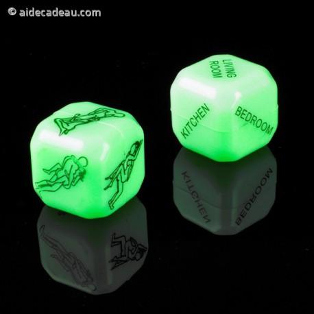 Dés sexy fluorescents pour jeux érotiques