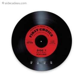 Accroche-clés disque vinyle noir et rouge