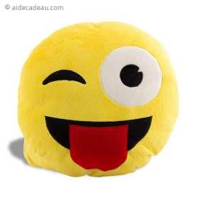 Coussin jaune Smiley avec un clin d'œil