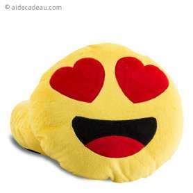 Coussin forme de Smiley avec yeux en cœur