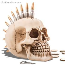 Tirelire crâne avec coiffure punk formée par des balles