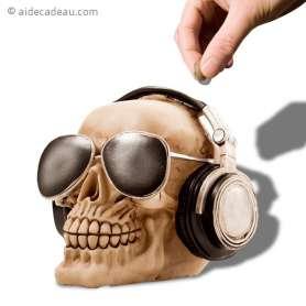 Tirelire tête de mort avec casque audio moderne