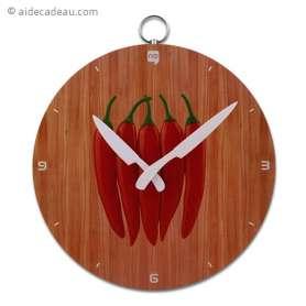 Horloge murale avec dessin de piments rouges