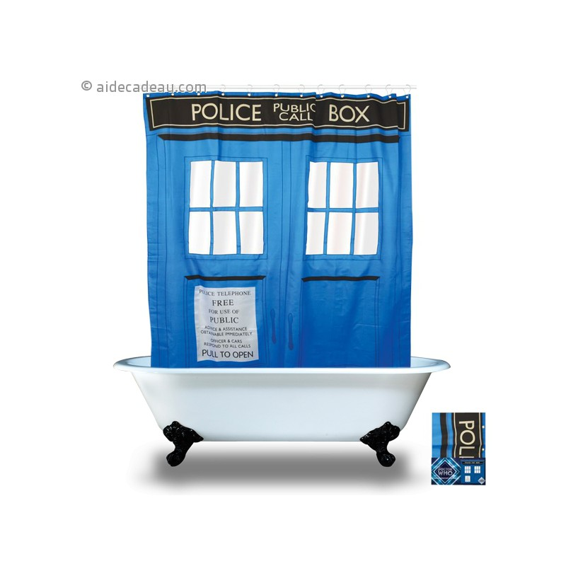 rideau de douche imperm able tardis dr who. Black Bedroom Furniture Sets. Home Design Ideas