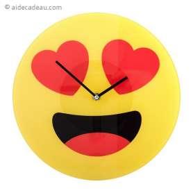 Horloge murale émoji amoureux Emoticone coeur