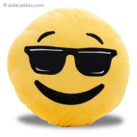Coussin émoji cool lunettes de soleil