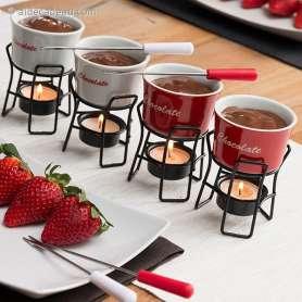4 Mini fondues à chocolat avec piques et supports