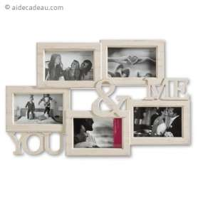 Cadre photo Coconut You & Me blanc vieilli