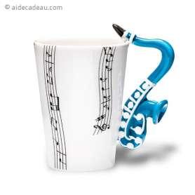 Tasse musicale à anse saxophone