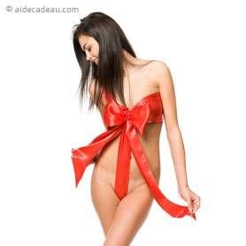 Déguisement coquin nœud rouge à déballer
