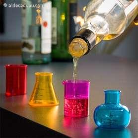 Lot de 4 verres à shot imitation béchers de laboratoires