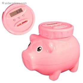 Tirelire en forme de cochon à compteur de pièces