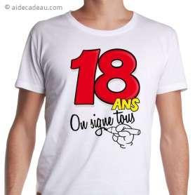 T-shirt 18 ans avec feutre pour dédicaces personnalisées