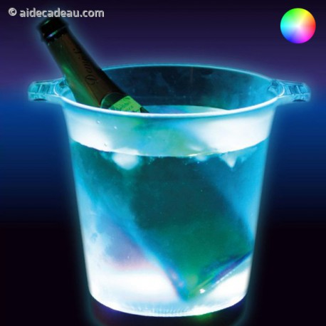 Seau à glace avec éclairage lumineux led multicolore