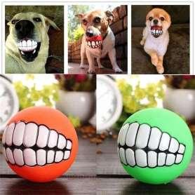 Balle à motifs dents pour chien