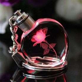Porte-clés en cristal avec fleur lumineuse