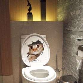 Sticker chat 3D sortant du mur