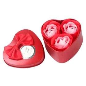 Boite cœur en métal 3 savons en forme de rose rouge