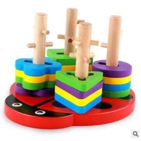 Coccinelle avec piliers pour jeu de correspondance des formes