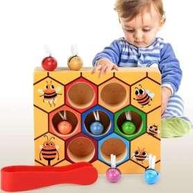 Ruche avec abeilles manipulation à la pince Montessori