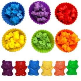 Oursons pour tri des couleurs Montessori avec cartes et récipients