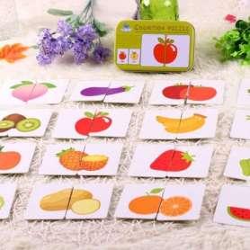 Coffre de jeu de cartes puzzles à assembler fruits et légumes