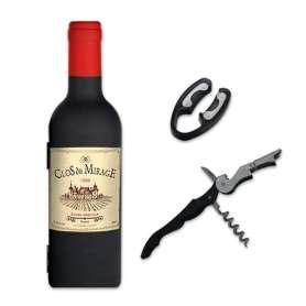 Coffret sommelier en forme de bouteille de vin